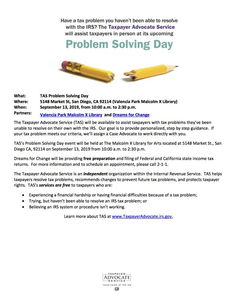 TAX Problem Solving Day!