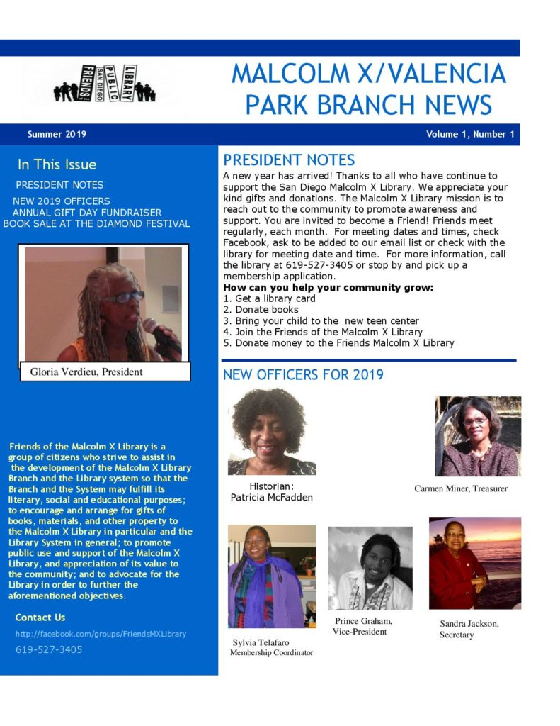 Friends of the Malcolm X Library Newsletter